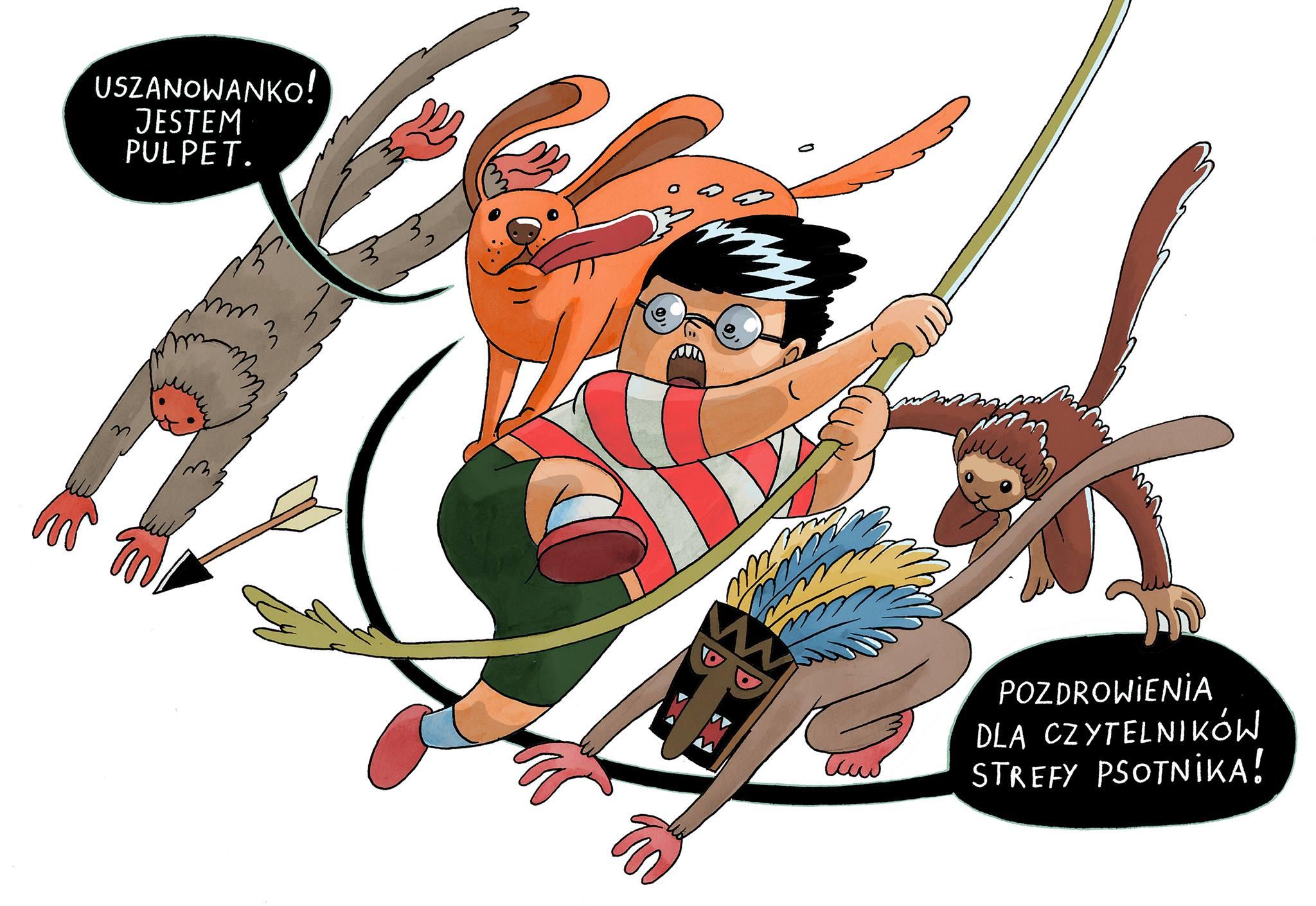 """""""Binek i Pulpet w świątyni Majów"""" ilustracja Adama Wójcickiego"""